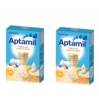 Pachet 2 x Cereale fara lapte Nutricia, Aptamil Fulgi de orez cu gust de vanilie, 200g, 4luni+