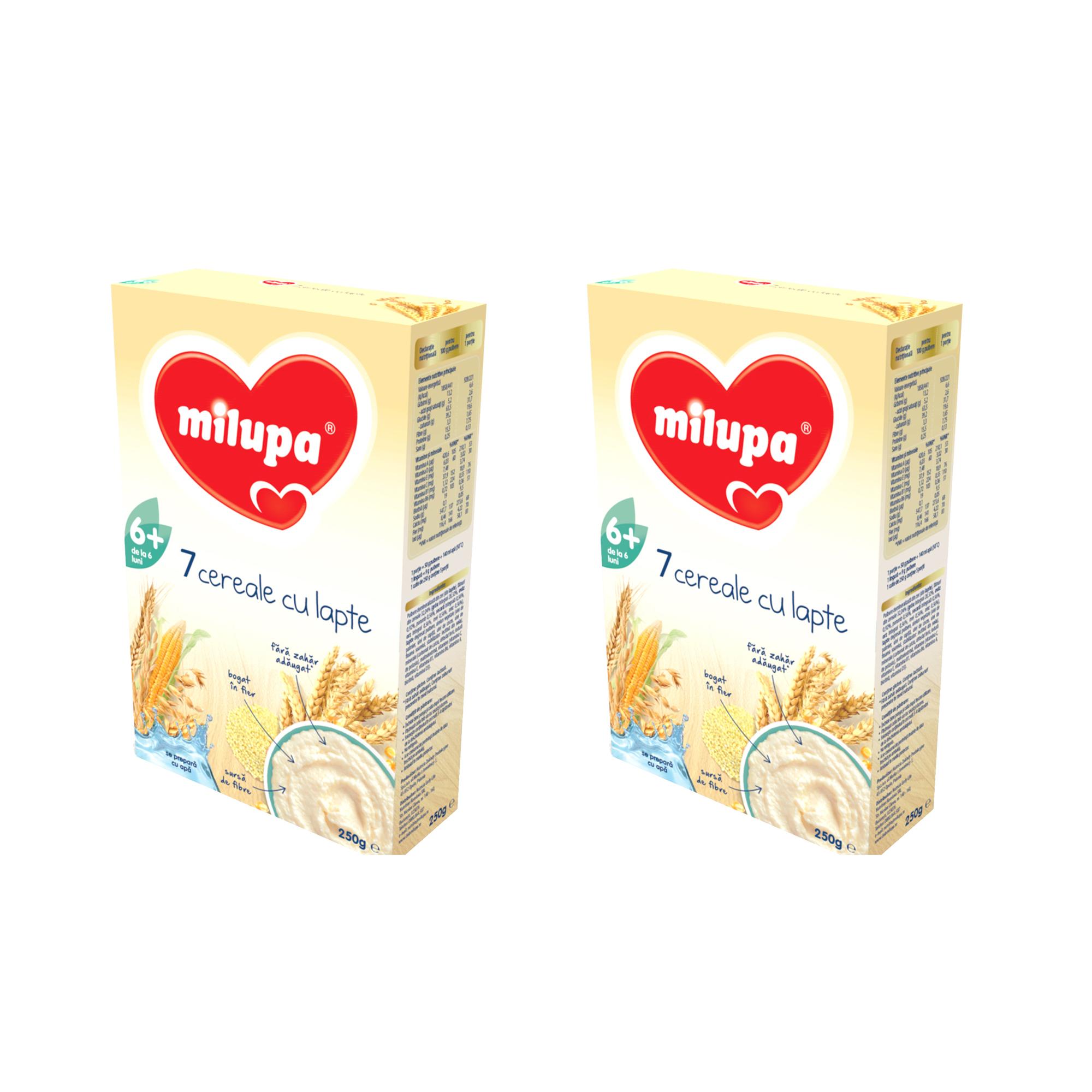 Pachet 2 x Cereale cu lapte, Milupa 7 Cereale, 250g, 6luni+