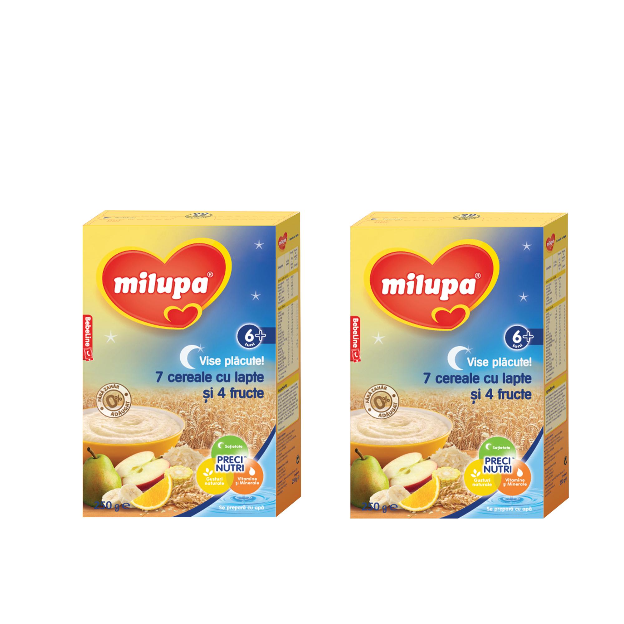 Pachet 2 x Cereale cu lapte Milupa, Vise Placute 7 cereale cu lapte si 4 fructe, 250g, 6luni+