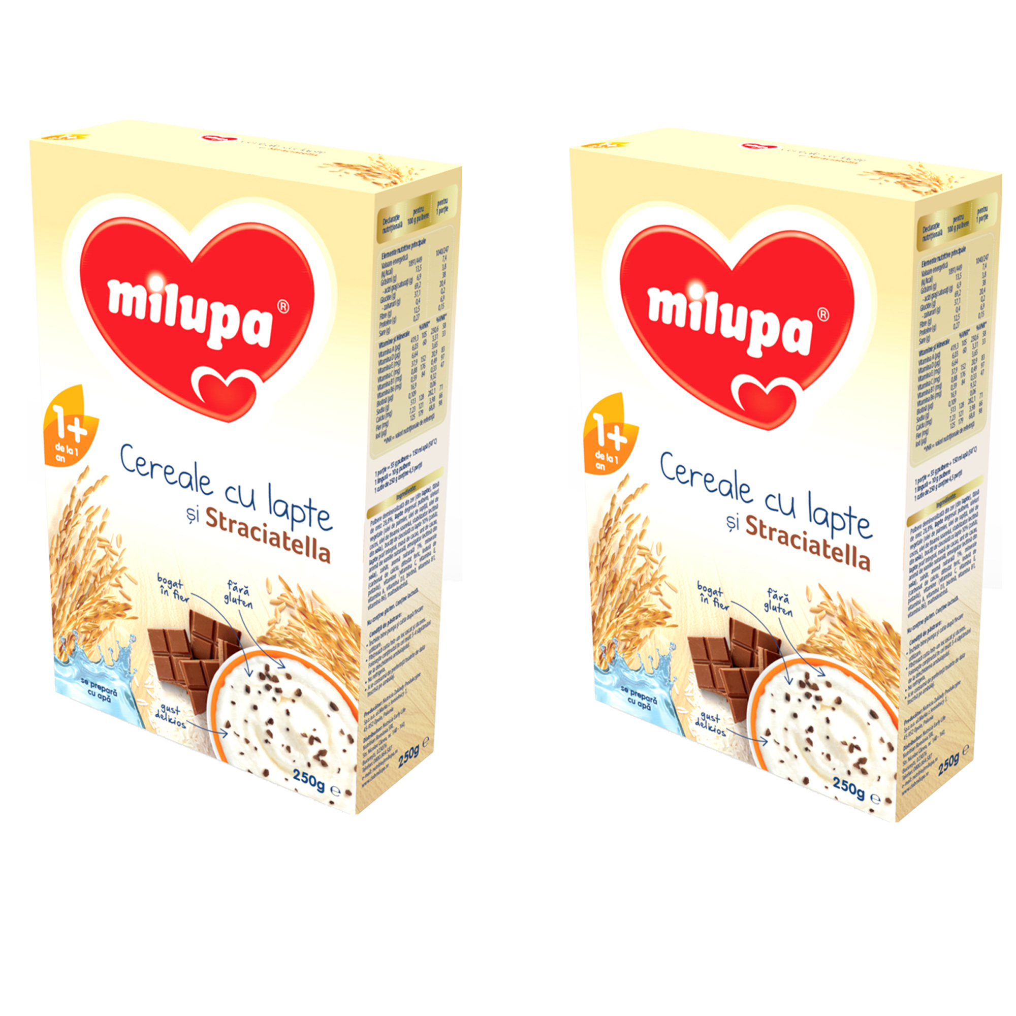 Pachet 2 x Milupa Cereale cu lapte si stracciatella, 250g, 12 luni+