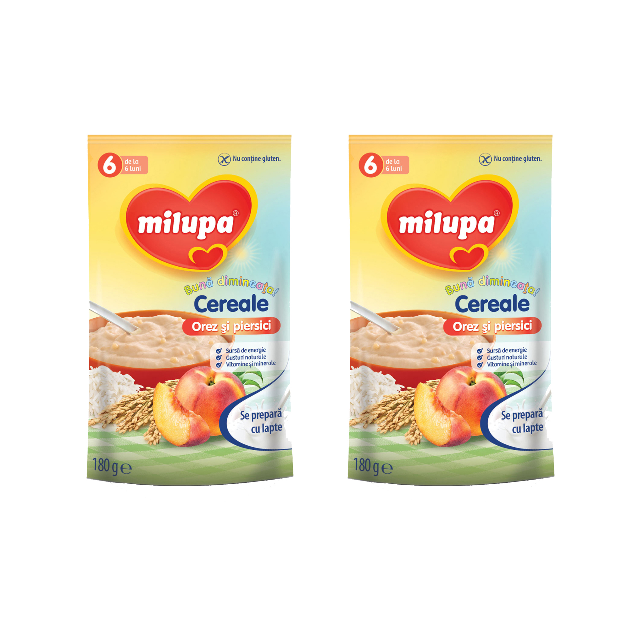 Pachet 2 x Cereale fara lapte, Milupa,Buna dimineata cereale orez si piersici, 180g, 6luni+