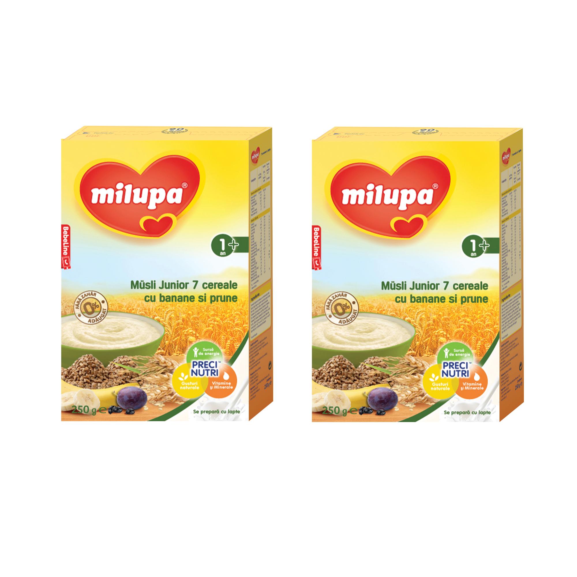 Pachet 2 x Cereale fara lapte, Milupa Musli Jr 7 cereale cu banane si prune, 250g, 12luni+