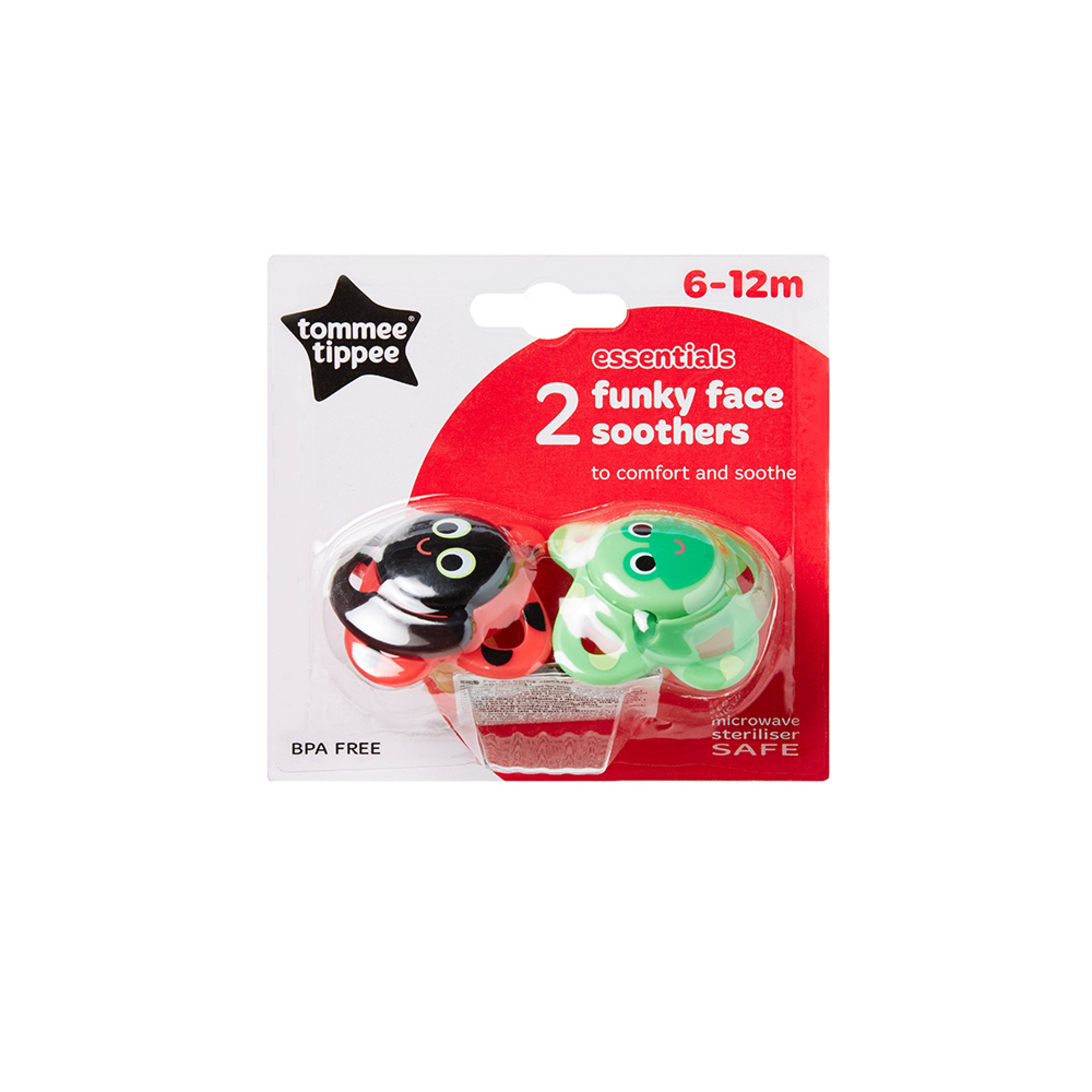 Suzete Funky Face, Tommee Tippee, 6-12 luni, 2 buc