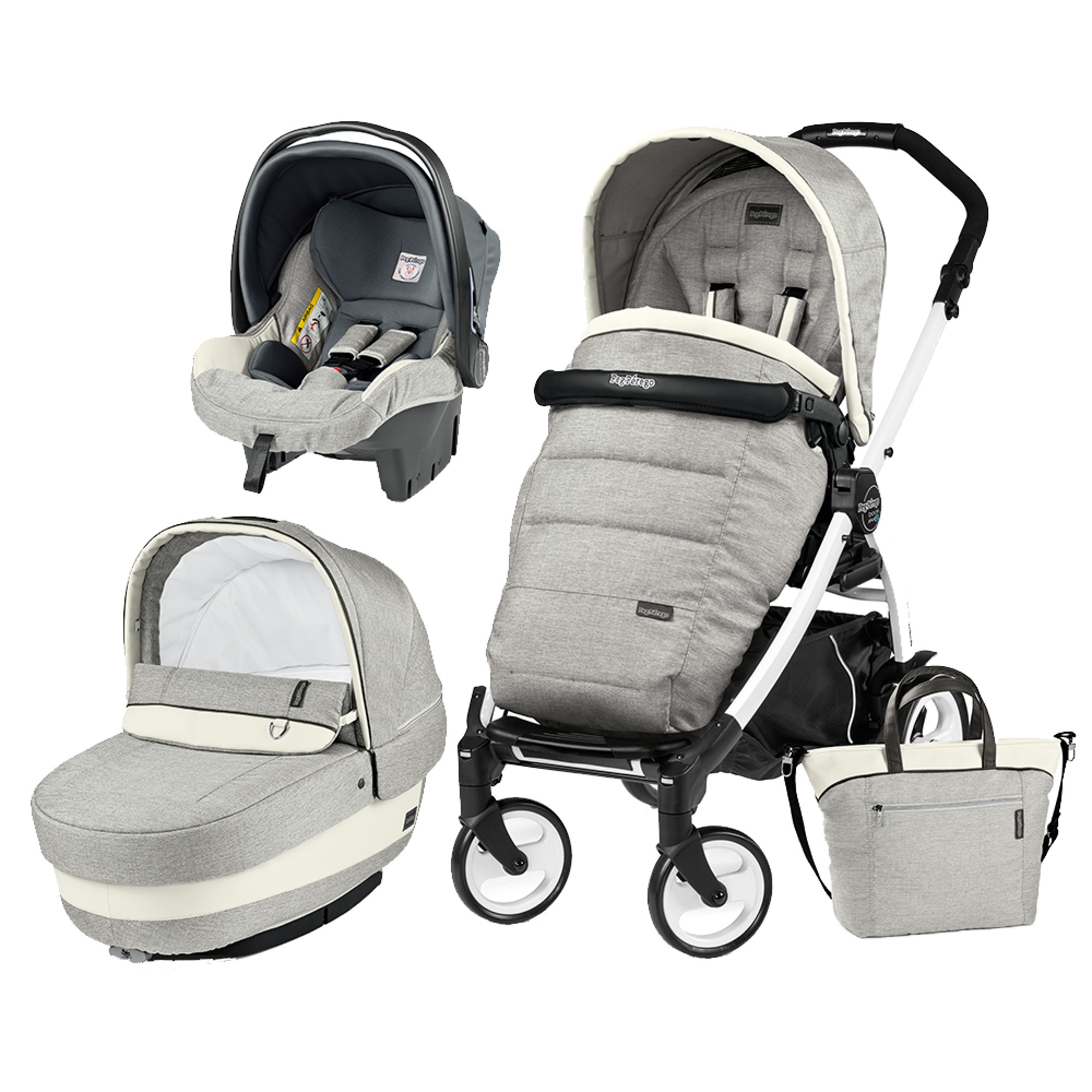 Carucior 3 In 1, Peg Perego, Book Plus 51, Black&White, Completo Elite