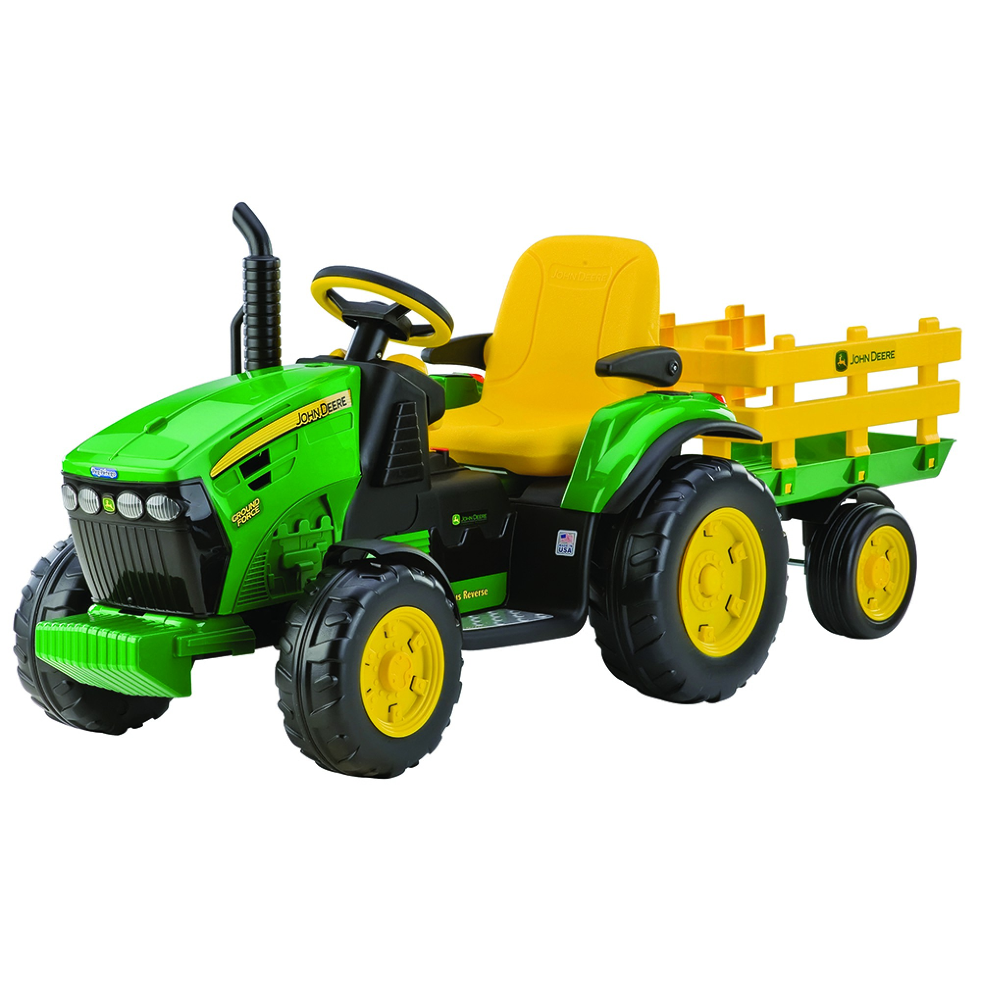 Tractor, JD Ground Force, Peg Perego, w/trailer